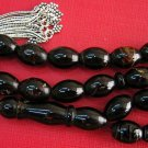 Prayer Beads Komboloi Plain Oval Top Quality Yusr Black Coral & Sterling Silver
