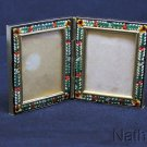 Vintage Millefiori Micro Mosaic PAIR of Hinged LARGE Photo Frames New Old Stock