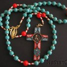 Wearable Rosary Rosenkranz Turquoise Red Coral & 1925 Pius XI Micromosaic Cross