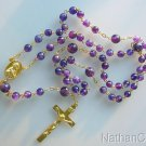 Catholic Rosary w Amethyst Faceted Beads & Gold Vermeil Chain, Cross & Center