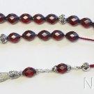 Greek Komboloi Rare Diamond 1930's Cherry Bakelite & Sterling Silver -Tested XXR