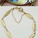 1930's Communion 18K Solid Gold Bracelet w Blue Enamel Medal - Unique & Charming