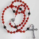 Important Catholic Rosary Rosenkranz Genuine Cognac Baltic Amber & Sterling