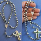 Catholic Rosary Rosenkranz Troca Shell Inlaid with Paua Hand Made Beads - Unique