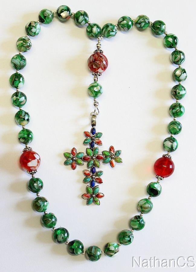 Beaded Greek Chotki Russian Komboskini MOP Amber Sterling Gemstones Cross