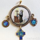 Vintage Hand Painted Enameled St Rita Medallion w chain & 3 Blue Enamel Pendants