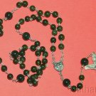 Catholic  Rosary Nephrite Jade Beads & Sterling Silver Chain, Cross & Center