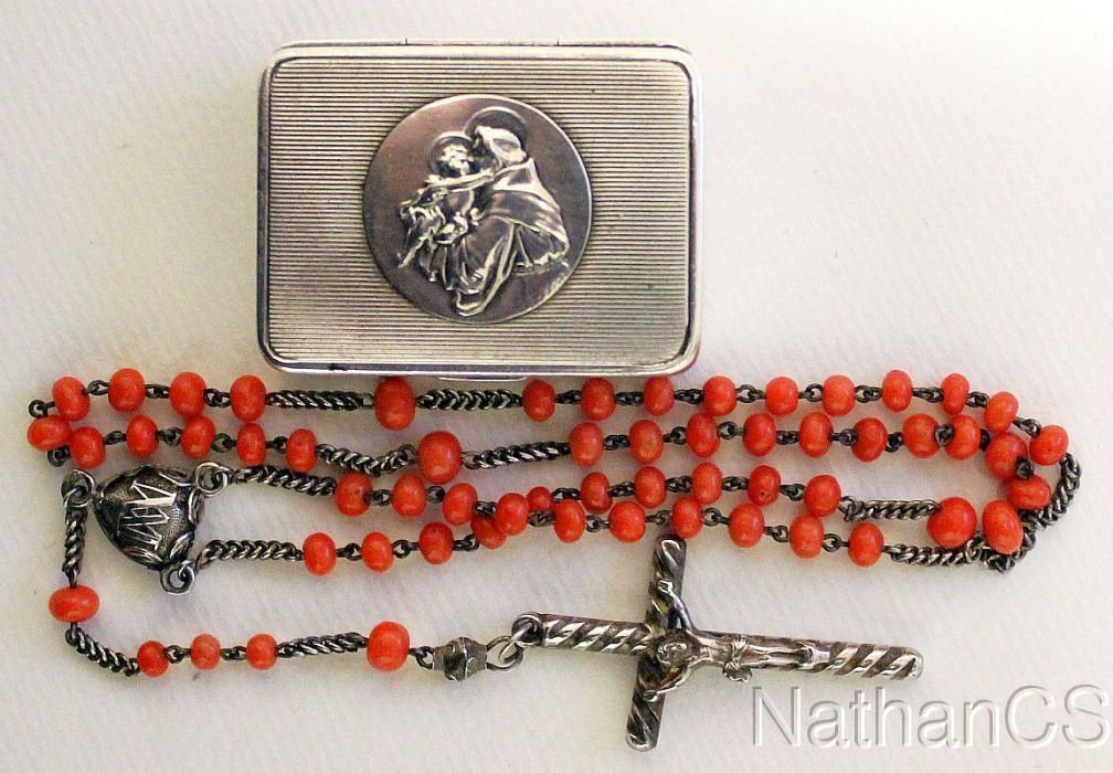 1850's Coral & Sterling Rosary in Silver Box w St Anthony of Padova Medallion XR