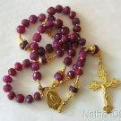 Catholic Rosary Rosenkranz Genuine Faceted Ruby Beads w Vermeil Center & Cross