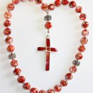 Orthodox Greek Russian Beaded Choki Komboskini MOP Amber Coral & Sterling Silver