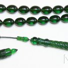 Prayer beads Tesbih Emerald Green Catalin Superior Special Carving Collector's