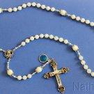Catholic Rosary MOP Sterling Vintage Cross & Enamel Medal Rosenkranz Antik Kreuz