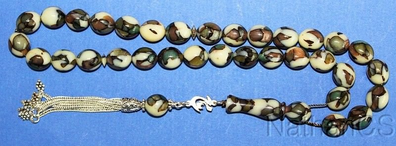 Prayer Beads Tesbih Vintage Marbled Galalith Special Carver Rare Collector's