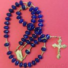 Catholic Rosary Rosenkranz Genuine Faceted Sapphires & Vermeil