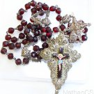 19th Cent. Bavarian Garnet & Filigree Rosary w. Credo & Porcelain Inlay Cross