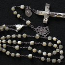 Late 19th Cent MOP & Sterling Catholic 1st Communion Rosary w Old Sterl. Medals