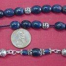 Greek Komboloi Genuine Ceylon Blue Sapphire  & Sterling Silver