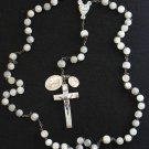 1920's Vintage MOP & Sterling Catholic Large Communion Rosary with Rare Medals