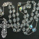 Catholic Rosary Vintage Bohemian Crystal Beads w Sterling Cross & Center - Rare