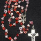 Catholic Rosary Fire Crackled Red Agate Beads w Sterling Chain, Cross & Center