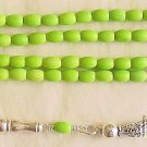Islamic Prayer Beads 99 Oval Beads Lime Turquoise & Sterling Silver