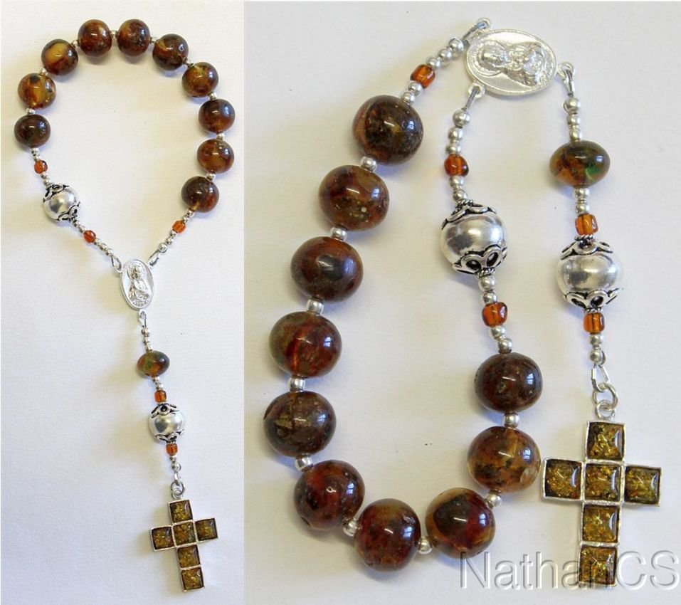 Catholic Travel Rosary Chaplet Vintage Baltic Green Amber and Sterling Silver