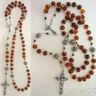 Catholic Rosary Prayer Beads Genuine Baltic Cognac Amber & Sterling Sterling
