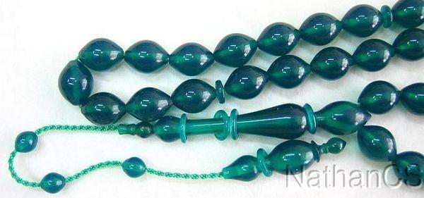 Tesbih Prayer Beads Green Turkish Amber Catalin Superior Carving Rare Item