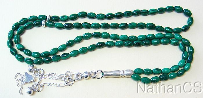 Islamic Prayer Beads Tesbih Gebetskette 99 Malachite & Sterling Silver