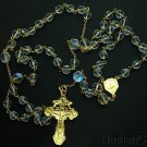 Catholic Rosary Vintage Bohemian Crystal & Gold Vermeil Cross & Center Rare