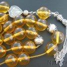Greek Komboloi Clear Honey Amber & Heavy Sterling Silver