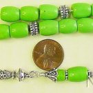 Greek Komboloi Lime Turquoise Barrel Beads & Sterling Silver