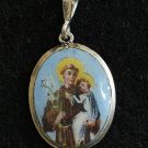 Vintage Medal St. Anthony of Padova Hand Painted Enameled Silver Framed w Chain