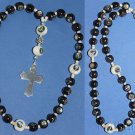 Anglican Rosary Ebony & Troca Shell Beads Inlaid w Paua & Sterling Cross RRR