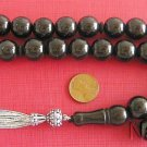 Prayer Beads Tesbih Large Round Turkish Oltu - Jet Stone - & Sterling Silver