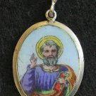 1920's Two sided Medal St. Peter Hand Painted Enameled in Silver Frame w Chain