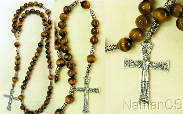 Catholic Rosary Gebetskette Tiger Eye & Sterling Silver