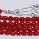 Islamic Prayer Beads Tesbih 99 Beads Natural Red Jade & Sterling Silver