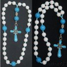 Anglican Episcopal Rosary White Jade Turquoise & Sterling Silver, Rare, Unique