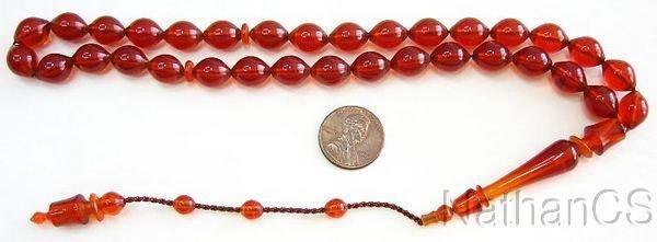 Prayer Beads Tesbih Cognac Color Turkish Amber Catalin - Sufi Carving