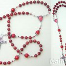 Catholic Rosary Red Coral & Sterling Silver With Enameled Vintage Cross & Center