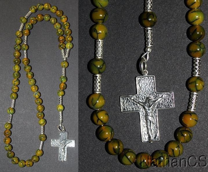 Catholic Rosary Dragon Veins Agate & Sterling Silver - Hand Made