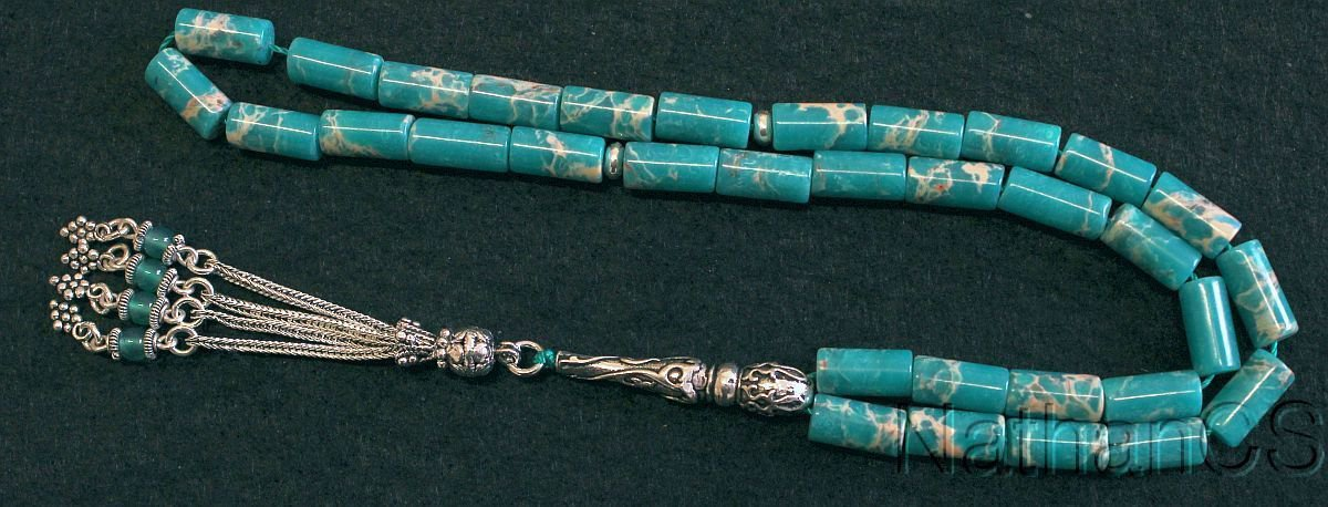 Prayer Worry Beads Komboloi Snake Skin Jasper & Sterling Silver