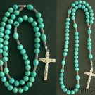 Catholic Rosary Rosenkranz Prayer Beads Turquoise Beads w Sterling Silver Cross
