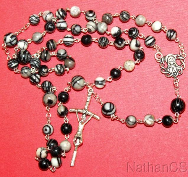 Catholic Rosary w Silkstone Onyx Beads & Sterling Silver Chain, Center & Cross