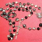 Catholic Rosary w Silkstone Onyx Beads & Sterling Silver Chain, Center & Cross