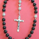 Anglican Episcopal Rosary Studded Jet & Sterling Silver Beads and Cross