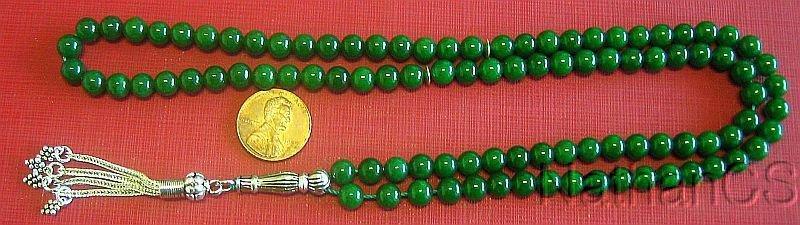 Islamic Prayer Beads Tesbih Gebetskette 99 Green Jade Beads & Sterling Silver