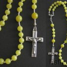 Catholic Rosary Rozenkranz Lemon Yellow Jade & Sterling Silver