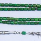 Islamic Prayer Beads 99 Barrel Green Turquoise & Sterling Rare Cut Collector's